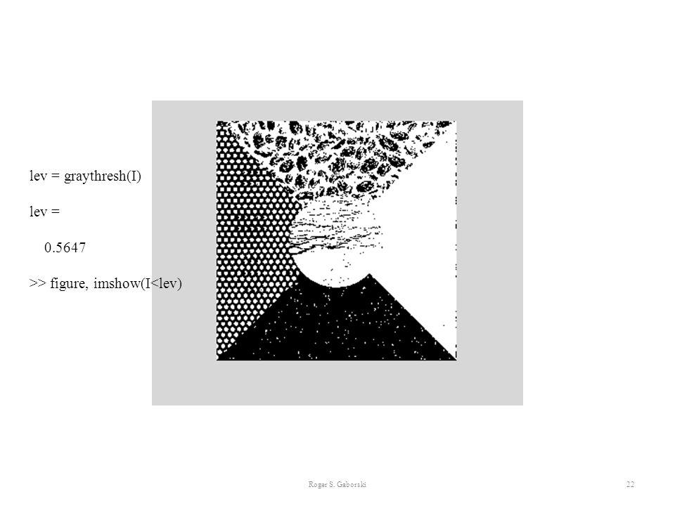 Roger S. Gaborski22 lev = graythresh(I) lev = 0.5647 >> figure, imshow(I<lev)
