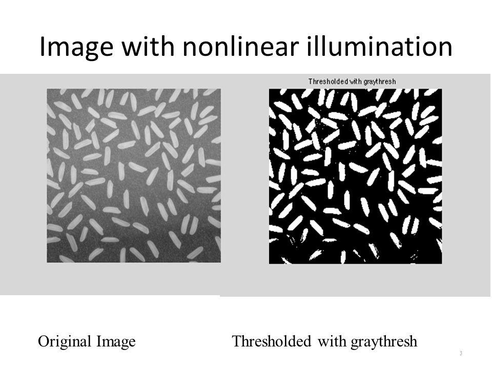 Image with nonlinear illumination 3 Original Image Thresholded with graythresh