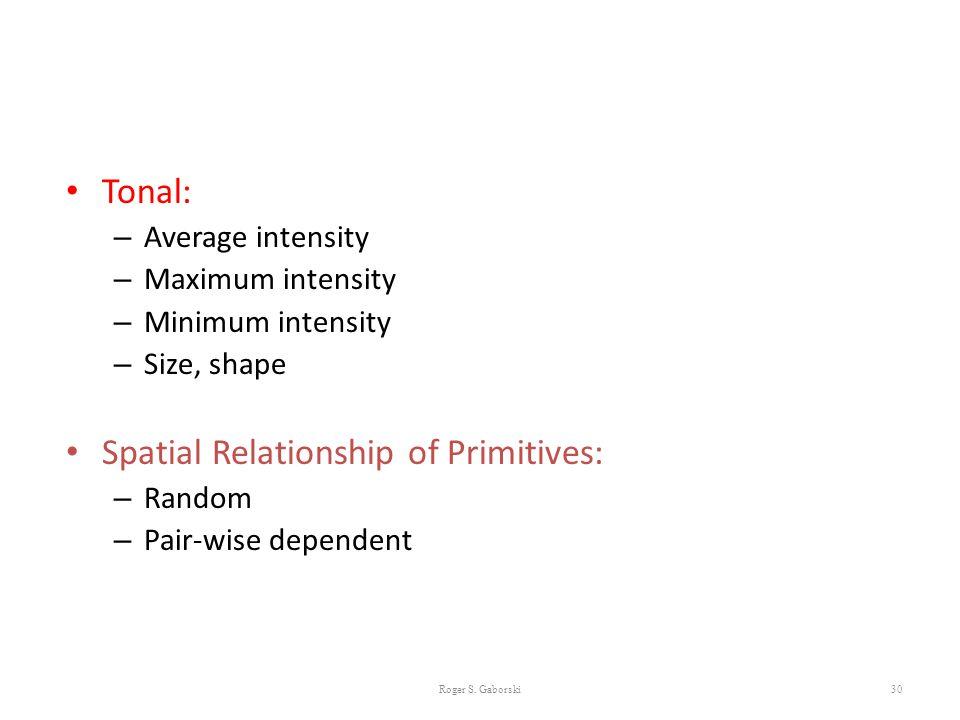 30 Tonal: – Average intensity – Maximum intensity – Minimum intensity – Size, shape Spatial Relationship of Primitives: – Random – Pair-wise dependent