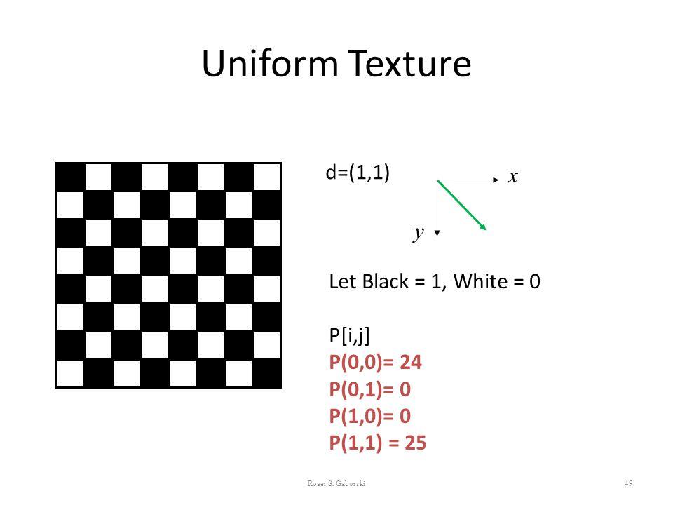 Uniform Texture 49 d=(1,1) Let Black = 1, White = 0 P[i,j] P(0,0)= 24 P(0,1)= 0 P(1,0)= 0 P(1,1) = 25 x y Roger S. Gaborski