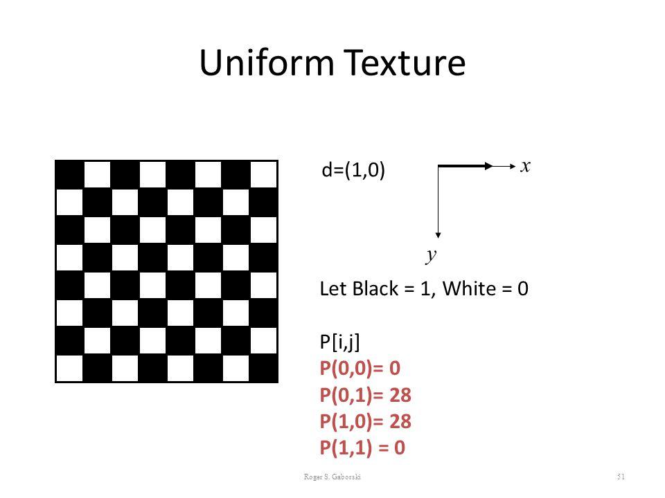 Uniform Texture 51 d=(1,0) x y Let Black = 1, White = 0 P[i,j] P(0,0)= 0 P(0,1)= 28 P(1,0)= 28 P(1,1) = 0 Roger S. Gaborski