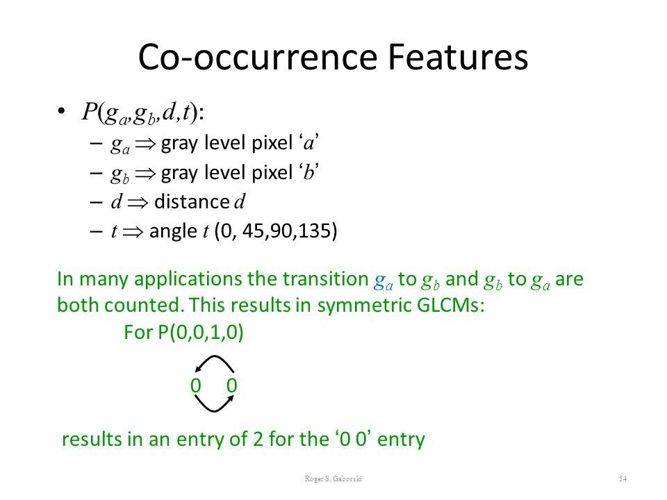 Co-occurrence Features P(g a,g b,d,t) : – g a  gray level pixel ' a ' – g b  gray level pixel ' b ' – d  distance d – t  angle t (0, 45,90,135) 54