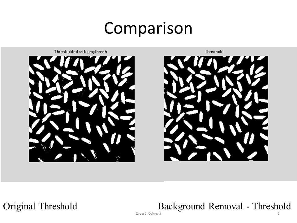 Comparison Roger S. Gaborski6 Original Threshold Background Removal - Threshold