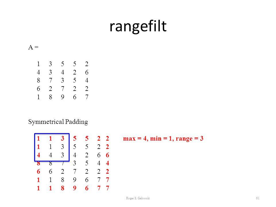 rangefilt Roger S. Gaborski61 A = 1 3 5 5 2 4 3 4 2 6 8 7 3 5 4 6 2 7 2 2 1 8 9 6 7 Symmetrical Padding 1 1 3 5 5 2 2 max = 4, min = 1, range = 3 1 1