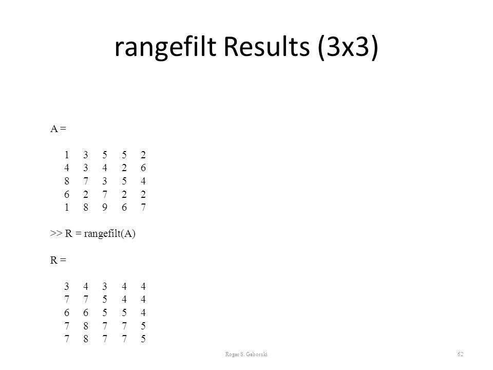 rangefilt Results (3x3) Roger S. Gaborski62 A = 1 3 5 5 2 4 3 4 2 6 8 7 3 5 4 6 2 7 2 2 1 8 9 6 7 >> R = rangefilt(A) R = 3 4 3 4 4 7 7 5 4 4 6 6 5 5
