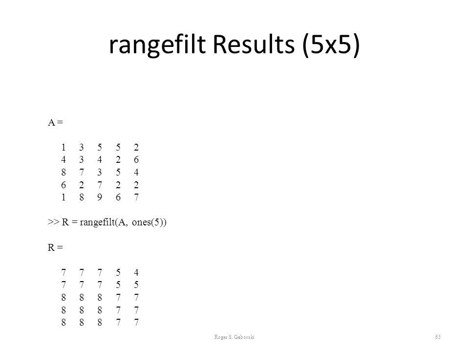 rangefilt Results (5x5) Roger S. Gaborski63 A = 1 3 5 5 2 4 3 4 2 6 8 7 3 5 4 6 2 7 2 2 1 8 9 6 7 >> R = rangefilt(A, ones(5)) R = 7 7 7 5 4 7 7 7 5 5