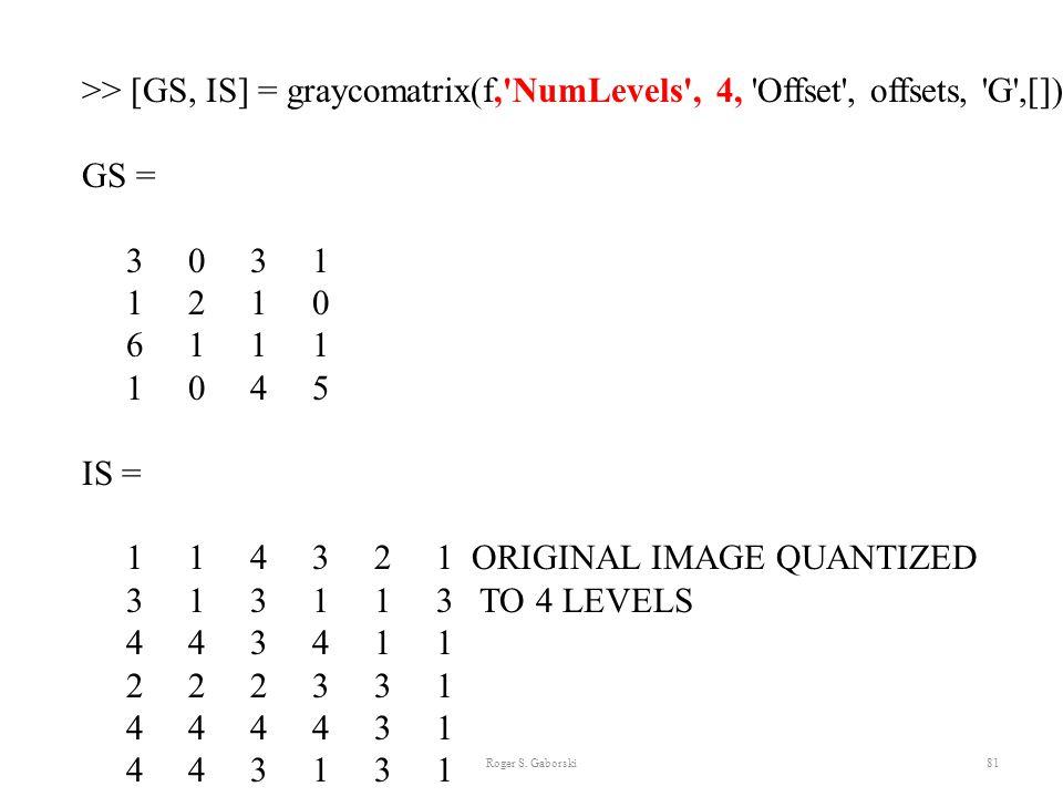 Roger S. Gaborski81 >> [GS, IS] = graycomatrix(f,'NumLevels', 4, 'Offset', offsets, 'G',[]) GS = 3 0 3 1 1 2 1 0 6 1 1 1 1 0 4 5 IS = 1 1 4 3 2 1 ORIG