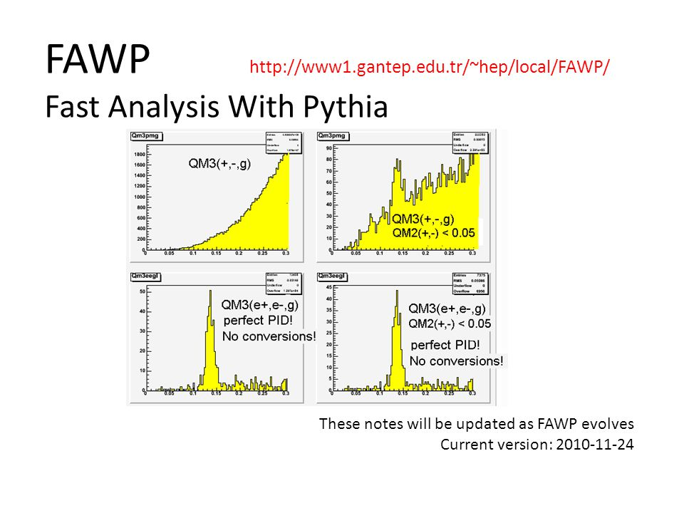 FAWP http://www1.gantep.edu.tr/~hep/local/FAWP/ Fast Analysis With Pythia These notes will be updated as FAWP evolves Current version: 2010-11-24
