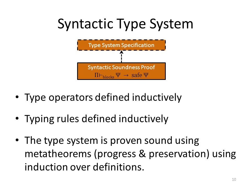 Syntactic Type System Type operators defined inductively Typing rules defined inductively The type system is proven sound using metatheorems (progress & preservation) using induction over definitions.