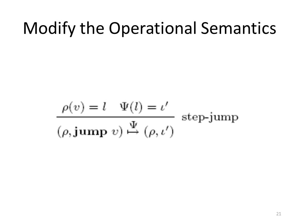 Modify the Operational Semantics 21