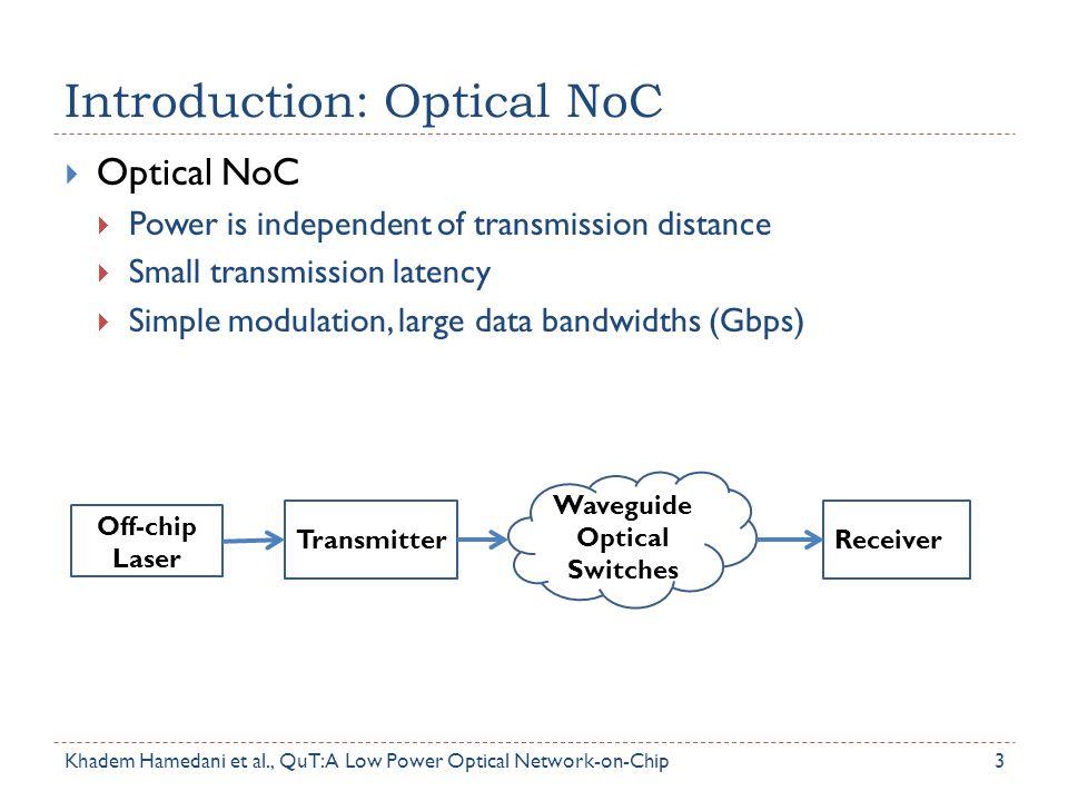 Introduction: Optical NoC Khadem Hamedani et al., QuT: A Low Power Optical Network-on-Chip  Optical NoC  Power is independent of transmission distan