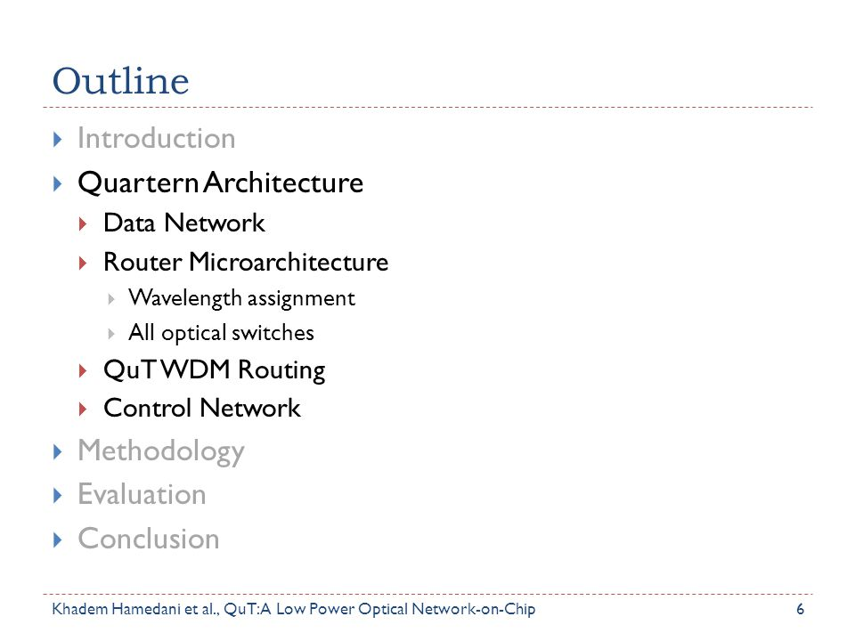 Outline  Introduction  Quartern Architecture  Data Network  Router Microarchitecture  Wavelength assignment  All optical switches  QuT WDM Rout