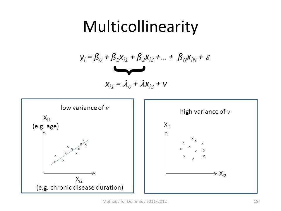 Multicollinearity y i = ß 0 + ß 1 x i1 + ß 2 x i2 +… + ß N x iN +  x i1 = 0 + x i2 + v Methods for Dummies 2011/201218 { X i1 (e.g.
