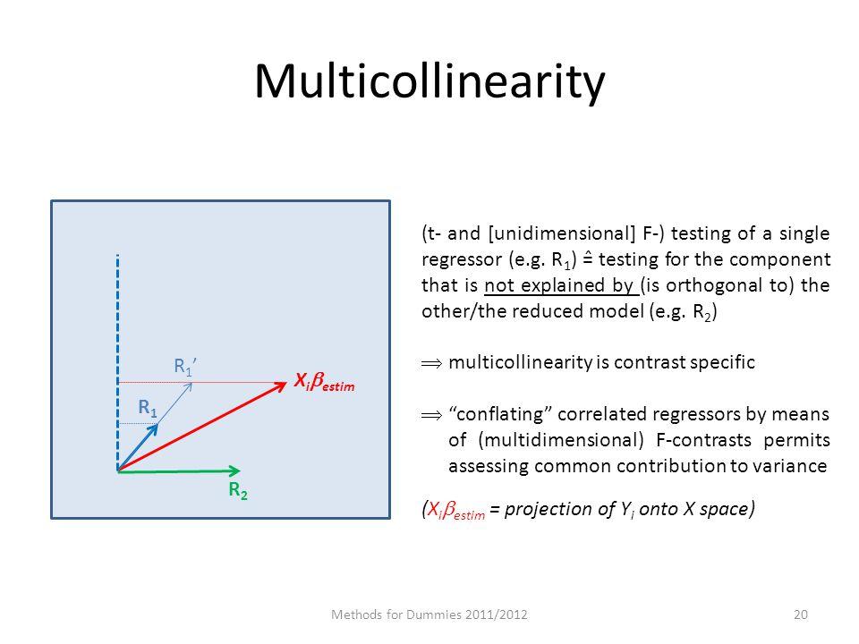 Multicollinearity Methods for Dummies 2011/201220 X i  estim R1R1 R2R2 R1'R1' (t- and [unidimensional] F-) testing of a single regressor (e.g.