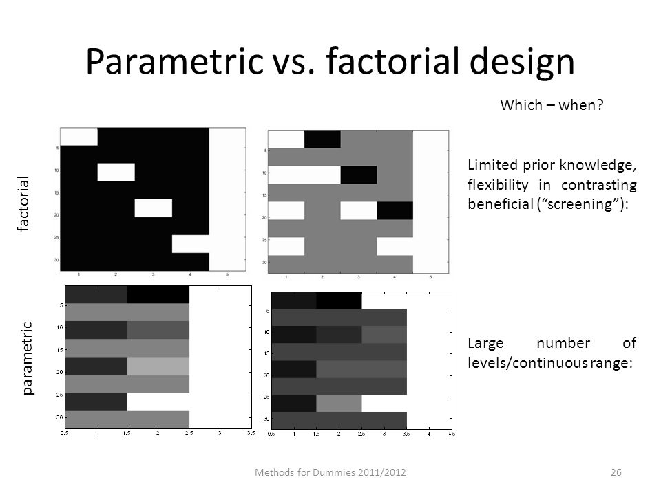 Parametric vs. factorial design Methods for Dummies 2011/ factorial parametric Which – when.