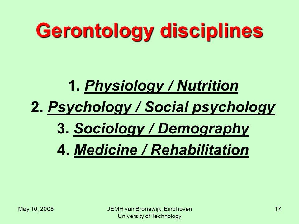 May 10, 2008JEMH van Bronswijk, Eindhoven University of Technology 17 Gerontology disciplines 1.