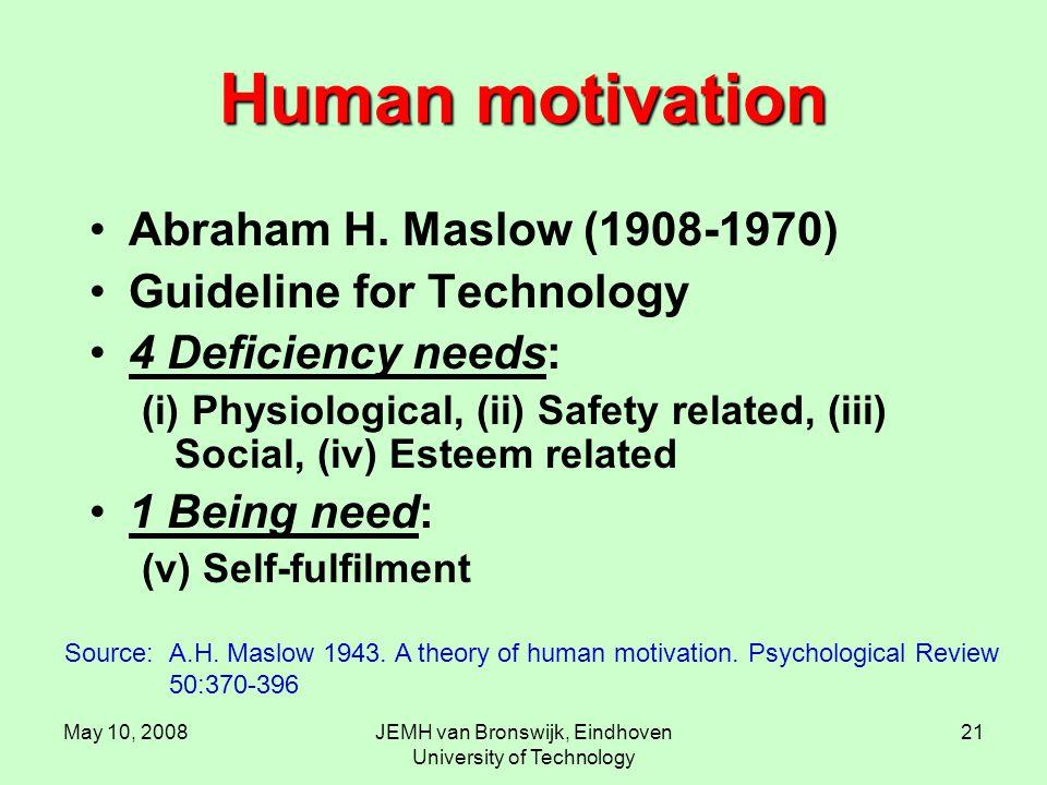 May 10, 2008JEMH van Bronswijk, Eindhoven University of Technology 21 Human motivation Abraham H.