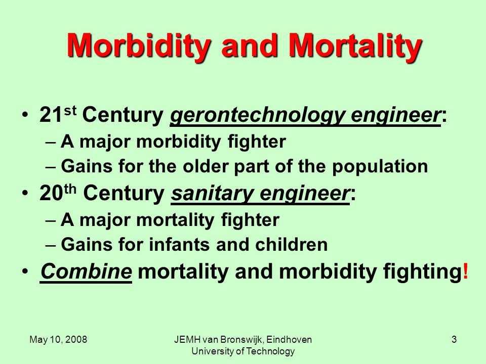 May 10, 2008JEMH van Bronswijk, Eindhoven University of Technology 3 Morbidity and Mortality 21 st Century gerontechnology engineer: –A major morbidity fighter –Gains for the older part of the population 20 th Century sanitary engineer: –A major mortality fighter –Gains for infants and children Combine mortality and morbidity fighting!