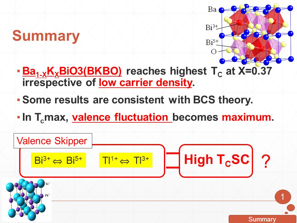 Summary 1 ▪Ba 1-X K X BiO3(BKBO) reaches highest T C at X=0.37 irrespective of low carrier density. ▪Some results are consistent with BCS theory. ▪In
