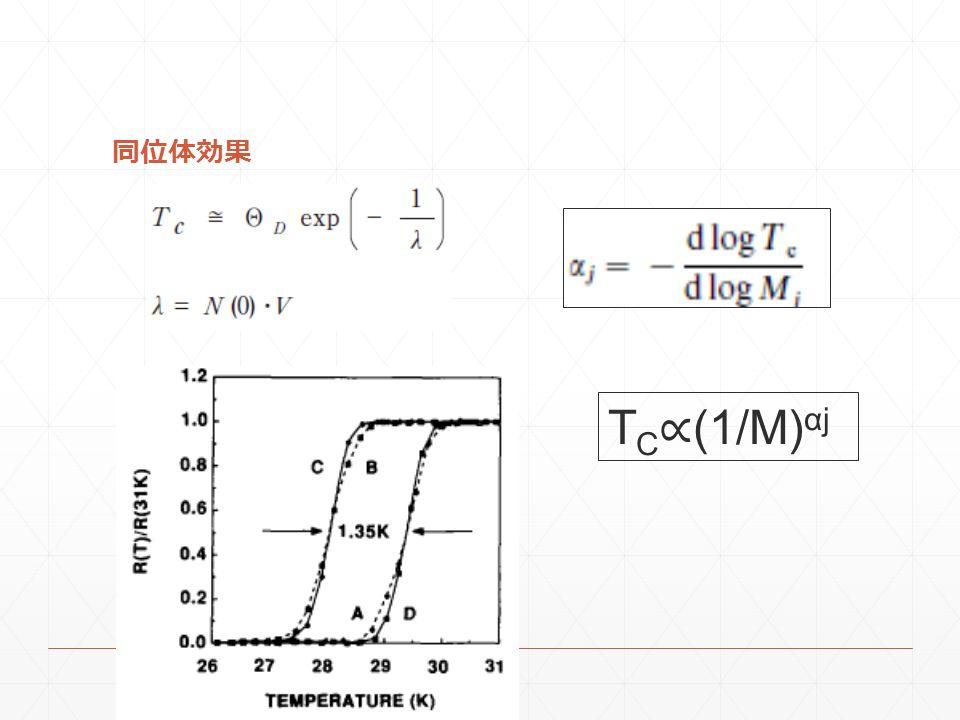 同位体効果 T C ∝ (1/M) αj