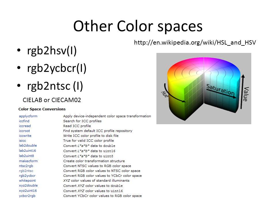 Other Color spaces rgb2hsv(I) rgb2ycbcr(I) rgb2ntsc (I) CIELAB or CIECAM02 http://en.wikipedia.org/wiki/HSL_and_HSV