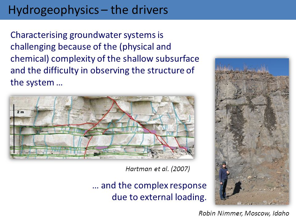 Hydrogeophysics – the drivers Characterising groundwater systems is challenging because of the (physical and chemical) complexity of the shallow subsu