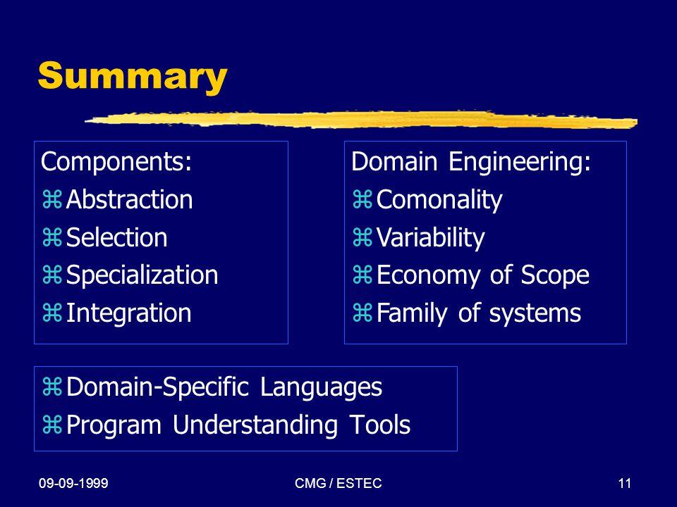 09-09-1999CMG / ESTEC11 Summary Components: zAbstraction zSelection zSpecialization zIntegration z Domain-Specific Languages z Program Understanding T