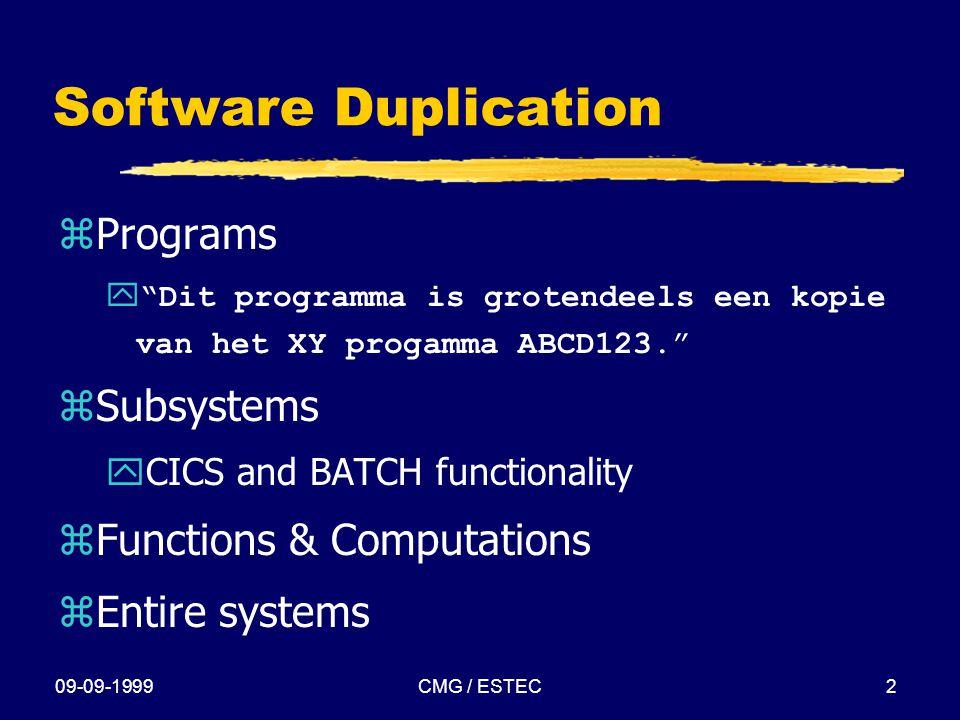 """09-09-1999CMG / ESTEC2 Software Duplication zPrograms  """"Dit programma is grotendeels een kopie van het XY progamma ABCD123."""" zSubsystems yCICS and BA"""