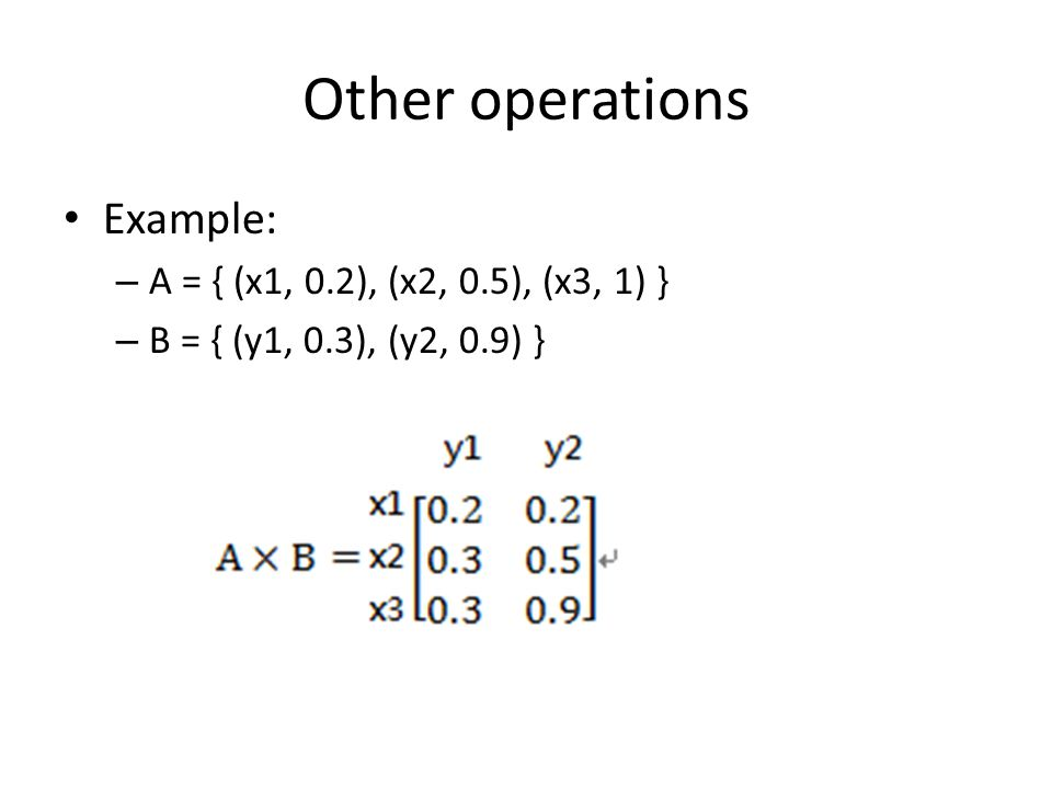Other operations Example: – A = { (x1, 0.2), (x2, 0.5), (x3, 1) } – B = { (y1, 0.3), (y2, 0.9) }