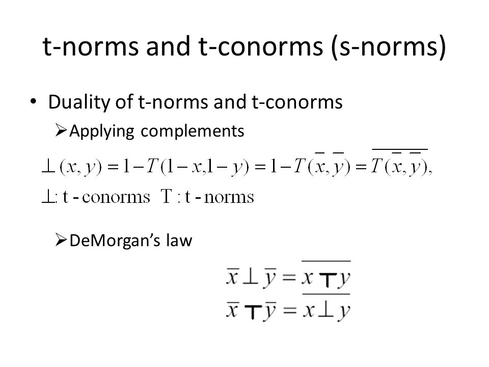 Duality of t-norms and t-conorms  Applying complements  DeMorgan's law