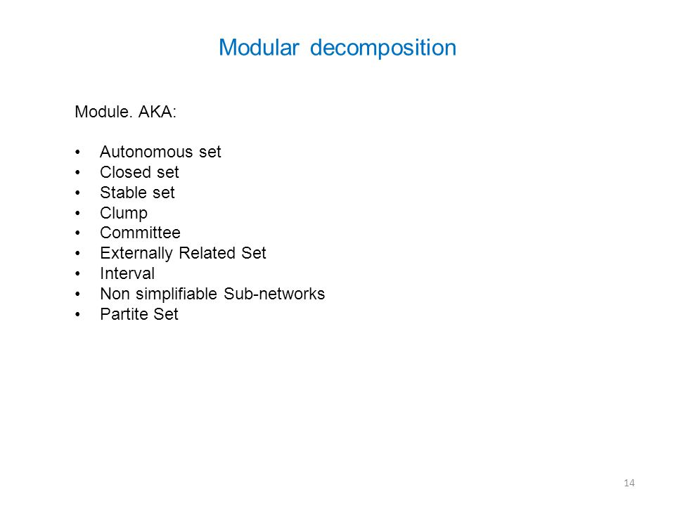 Modular decomposition Module.