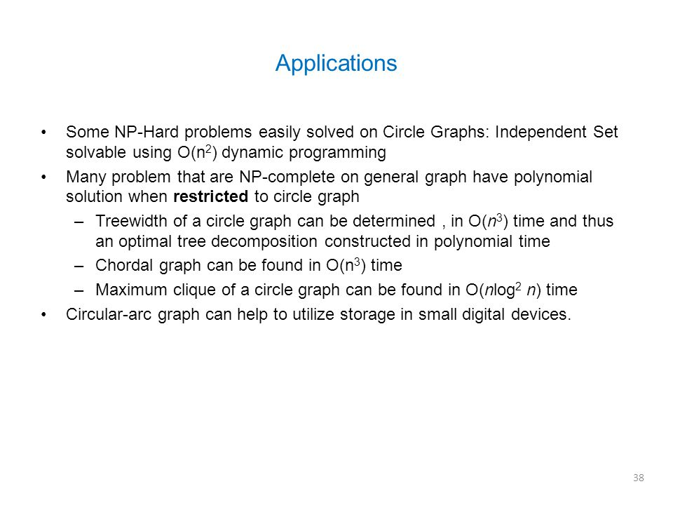 Some NP-Hard problems easily solved on Circle Graphs: Independent Set solvable using O(n 2 ) dynamic programming Many problem that are NP-complete on general graph have polynomial solution when restricted to circle graph –Treewidth of a circle graph can be determined, in O(n 3 ) time and thus an optimal tree decomposition constructed in polynomial time –Chordal graph can be found in O(n 3 ) time –Maximum clique of a circle graph can be found in O(nlog 2 n) time Circular-arc graph can help to utilize storage in small digital devices.