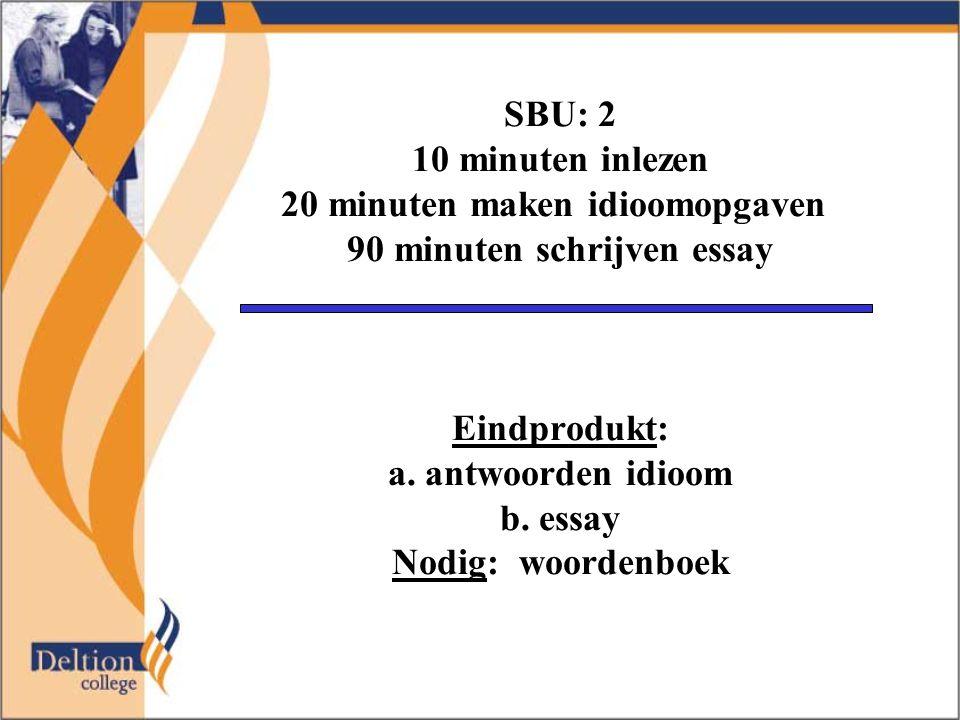 SBU: 2 10 minuten inlezen 20 minuten maken idioomopgaven 90 minuten schrijven essay Eindprodukt: a. antwoorden idioom b. essay Nodig: woordenboek