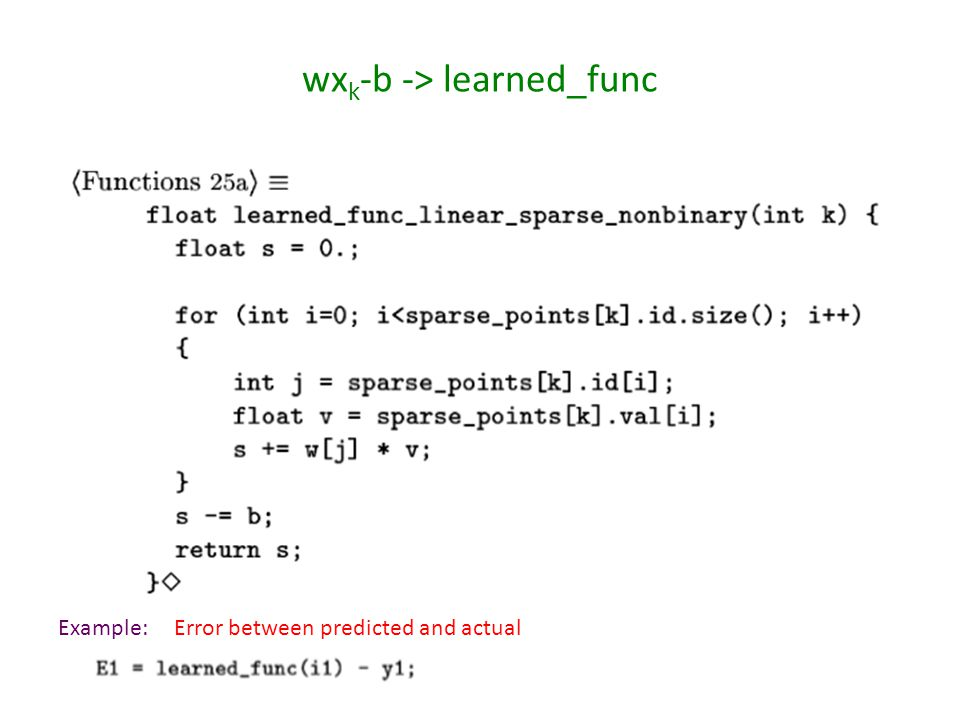 wx k -b -> learned_func Example:Error between predicted and actual