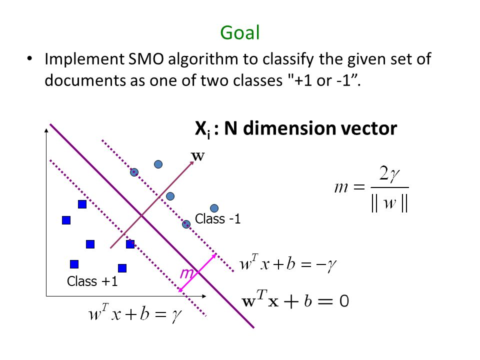 Goal Implement SMO algorithm to classify the given set of documents as one of two classes +1 or -1 .