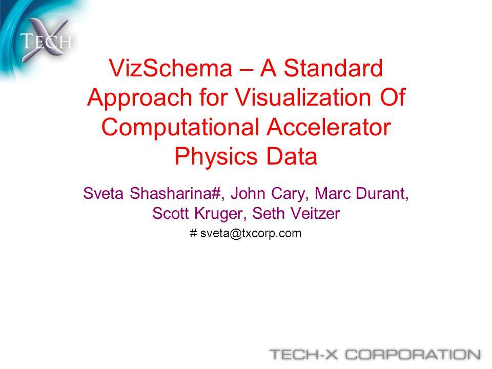 VizSchema – A Standard Approach for Visualization Of Computational Accelerator Physics Data Sveta Shasharina#, John Cary, Marc Durant, Scott Kruger, S