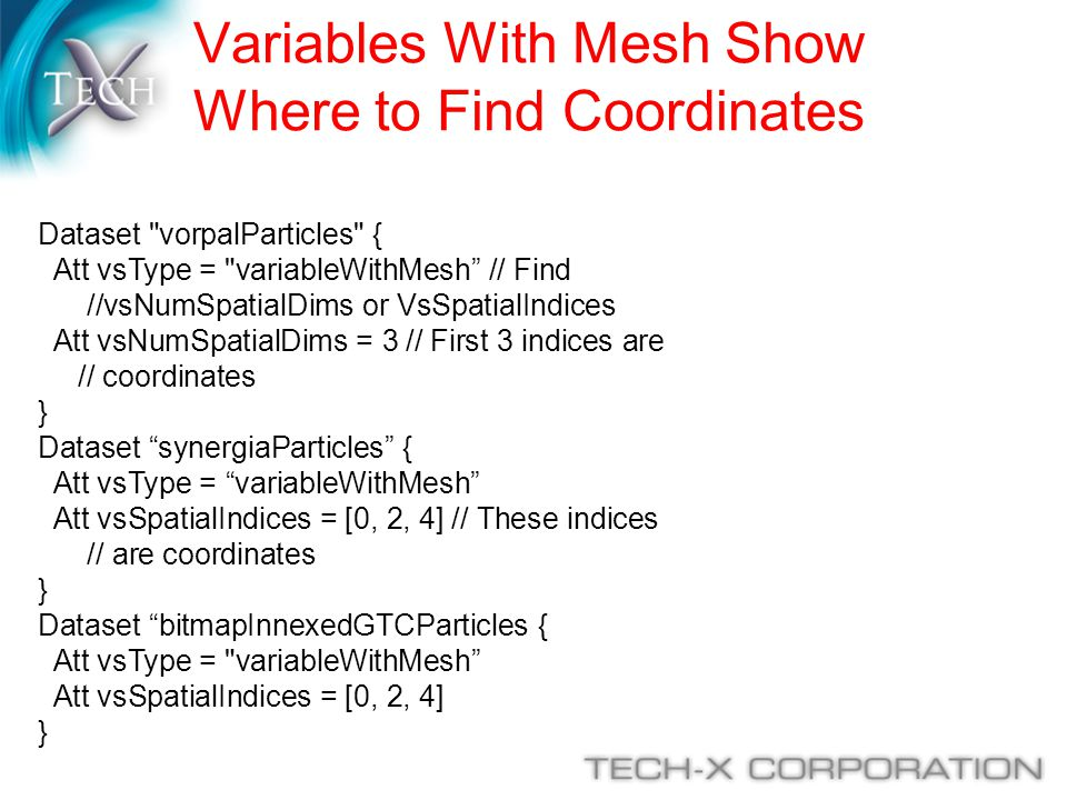 Variables With Mesh Show Where to Find Coordinates Dataset