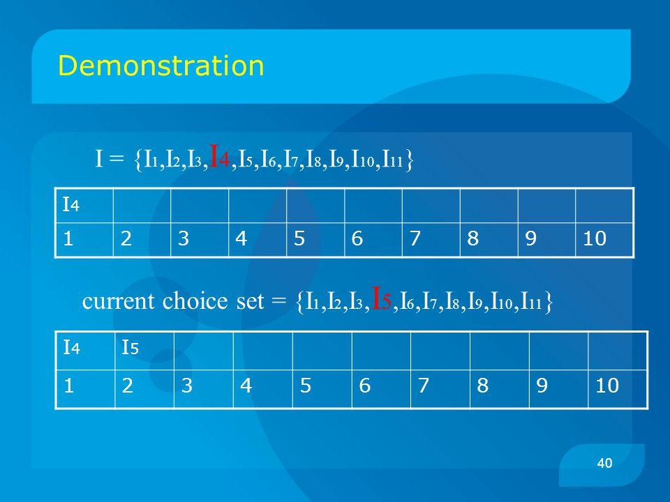 40 Demonstration I4I4 12345678910 I = {I 1,I 2,I 3, I 4,I 5,I 6,I 7,I 8,I 9,I 10,I 11 } current choice set = {I 1,I 2,I 3, I 5,I 6,I 7,I 8,I 9,I 10,I 11 } I4I4 I5I5 12345678910