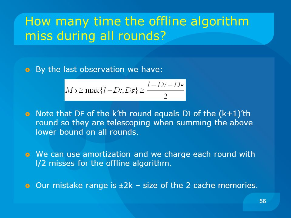56 How many time the offline algorithm miss during all rounds?  By the last observation we have:  Note that D F of the k'th round equals D I of the