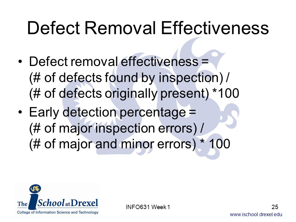 www.ischool.drexel.edu INFO631 Week 125 Defect Removal Effectiveness Defect removal effectiveness = (# of defects found by inspection) / (# of defects