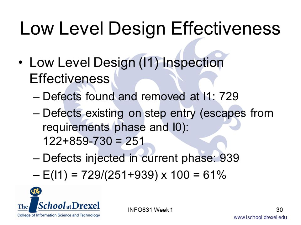 www.ischool.drexel.edu INFO631 Week 130 Low Level Design Effectiveness Low Level Design (I1) Inspection Effectiveness –Defects found and removed at I1: 729 –Defects existing on step entry (escapes from requirements phase and I0): 122+859-730 = 251 –Defects injected in current phase: 939 –E(I1) = 729/(251+939) x 100 = 61%
