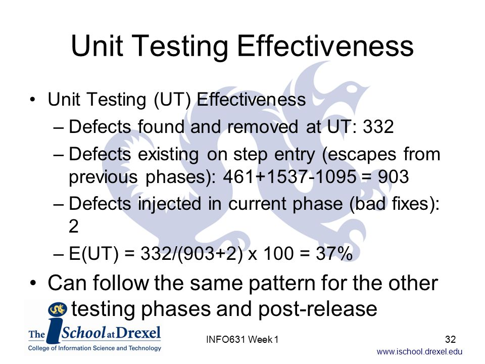 www.ischool.drexel.edu INFO631 Week 132 Unit Testing Effectiveness Unit Testing (UT) Effectiveness –Defects found and removed at UT: 332 –Defects exis