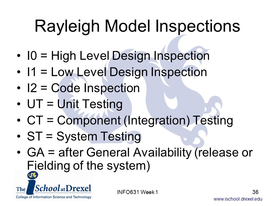 www.ischool.drexel.edu INFO631 Week 136 Rayleigh Model Inspections I0 = High Level Design Inspection I1 = Low Level Design Inspection I2 = Code Inspec