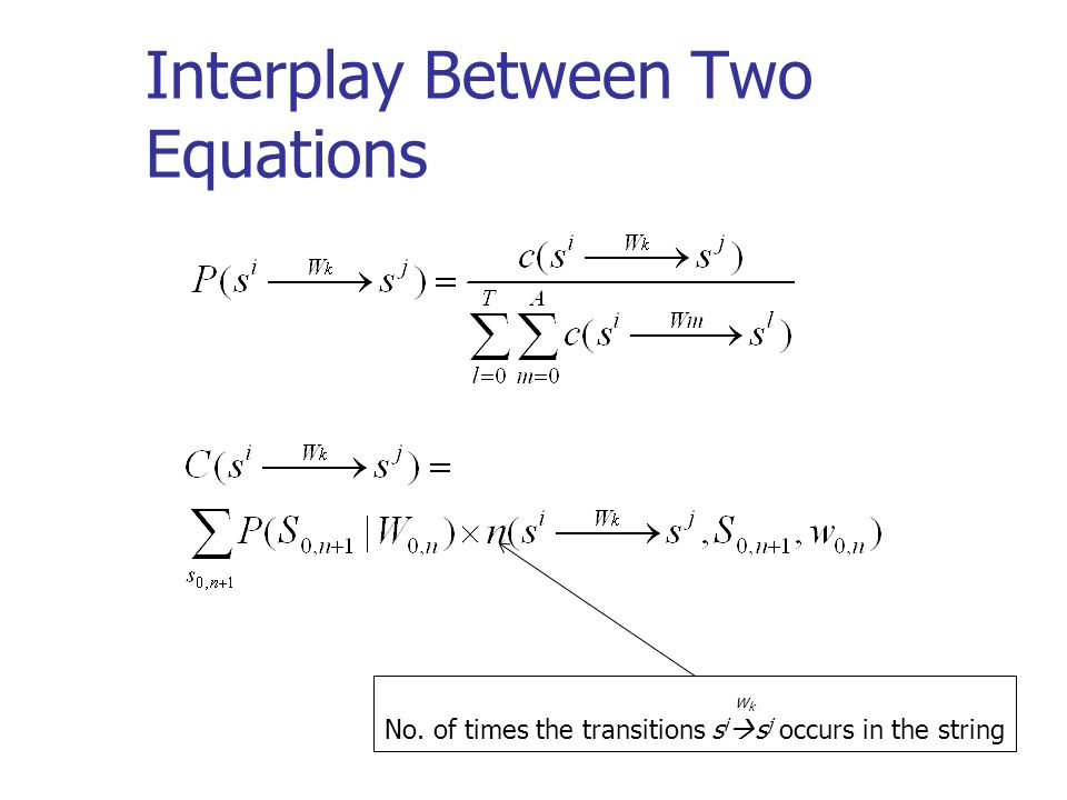 Interplay Between Two Equations w k No. of times the transitions s i  s j occurs in the string