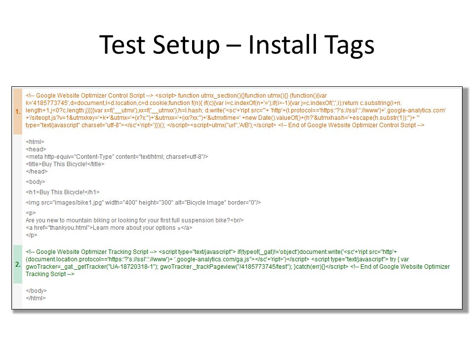 Test Setup – Install Tags