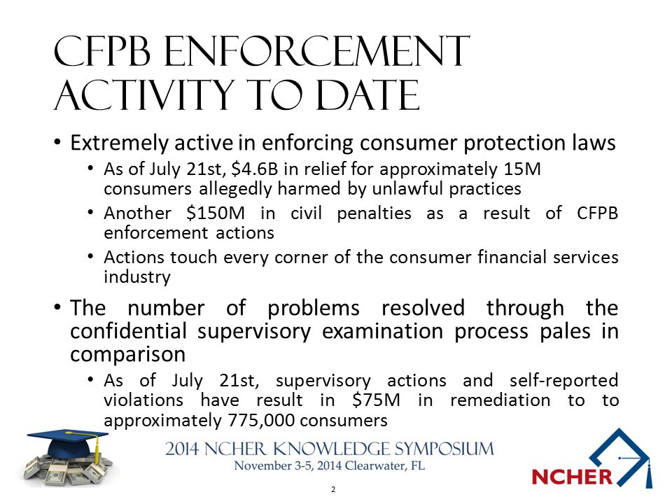 2 CFPB Enforcement Activity to Date Extremely active in enforcing consumer protection laws As of July 21st, $4.6B in relief for approximately 15M consumers allegedly harmed by unlawful practices Another $150M in civil penalties as a result of CFPB enforcement actions Actions touch every corner of the consumer financial services industry The number of problems resolved through the confidential supervisory examination process pales in comparison As of July 21st, supervisory actions and self-reported violations have result in $75M in remediation to to approximately 775,000 consumers