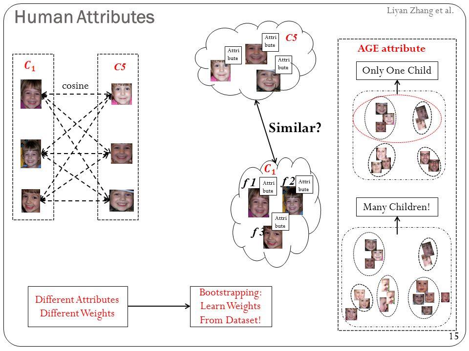 15 Liyan Zhang et al. Human Attributes Attri bute C5 f 1 f 2 f 3 Attri bute Similar? C5 cosine Only One Child Many Children! AGE attribute Bootstrappi