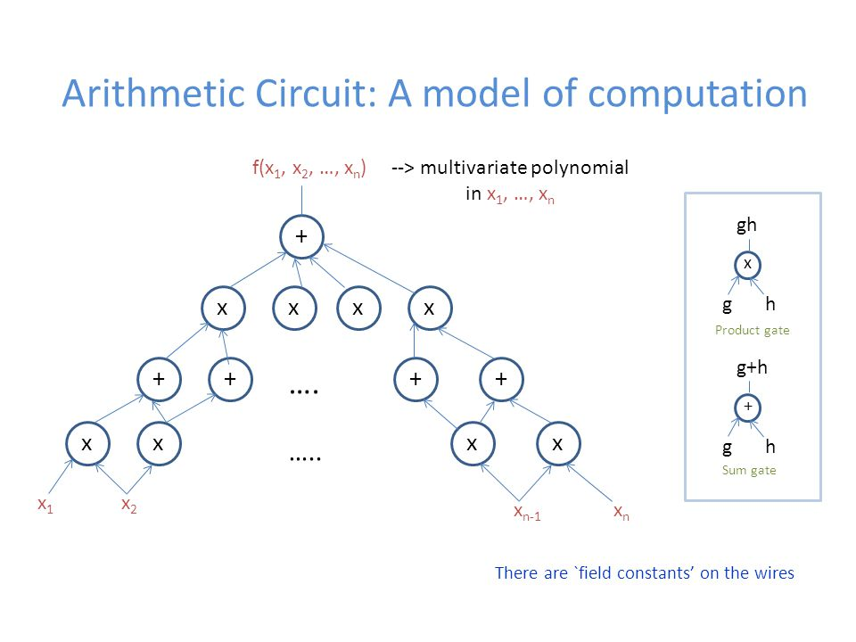 Arithmetic Circuit: A model of computation + xxxx ++++ xxxx ….