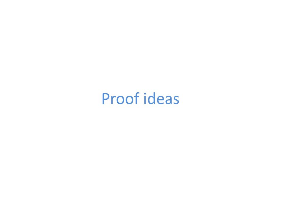 Proof ideas