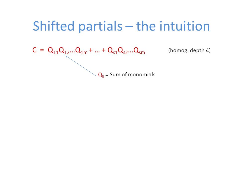 Shifted partials – the intuition C = Q 11 Q 12 …Q 1m + … + Q s1 Q s2 …Q sm (homog.